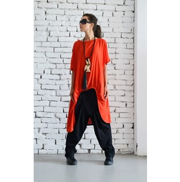 Red Asymmetric Loose Tunic/Extravagant Casual Top/Short Sleeve Shirt