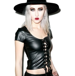 Women Sexy Cyber Goth Rock Gothic Pvc Vinyl Lace Up Front Top