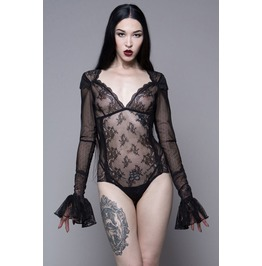 Women Sexy Widow Gothic Sexy Stretch Lace Mesh Bodysuit