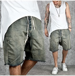 Drawcord Waist Washed Denim Shorts 62