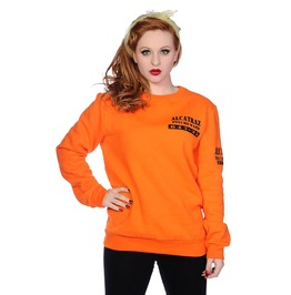 Banned Apparel Alcatraz Women Sweatshirt Orange And Black