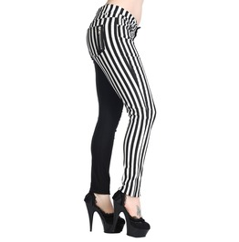 Banned Apparal Half Black Half Striped Trousers Black&White And Black&Red