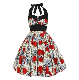Skulls & Roses Dress Pin Up Rockabilly Dress Gothic Halloween Party Dress