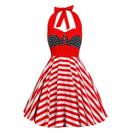 Usa Dress Pin Up Rockabilly Dress American Flag Dress Christmas Party Dress