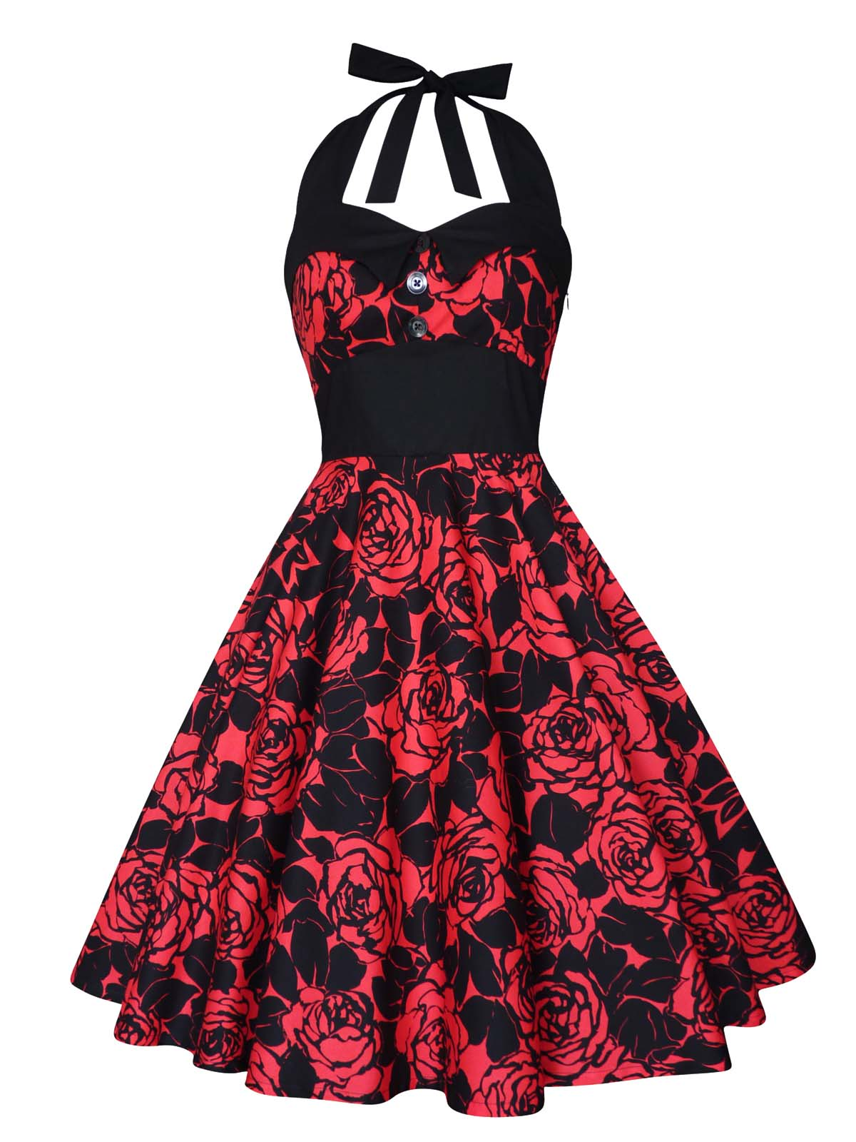 Red Roses Dress Gothic Party Christmas Pin Up Rockabilly