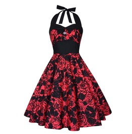 Red Roses Dress Gothic Party Dress Christmas Dress Pin Up Rockabilly Dress