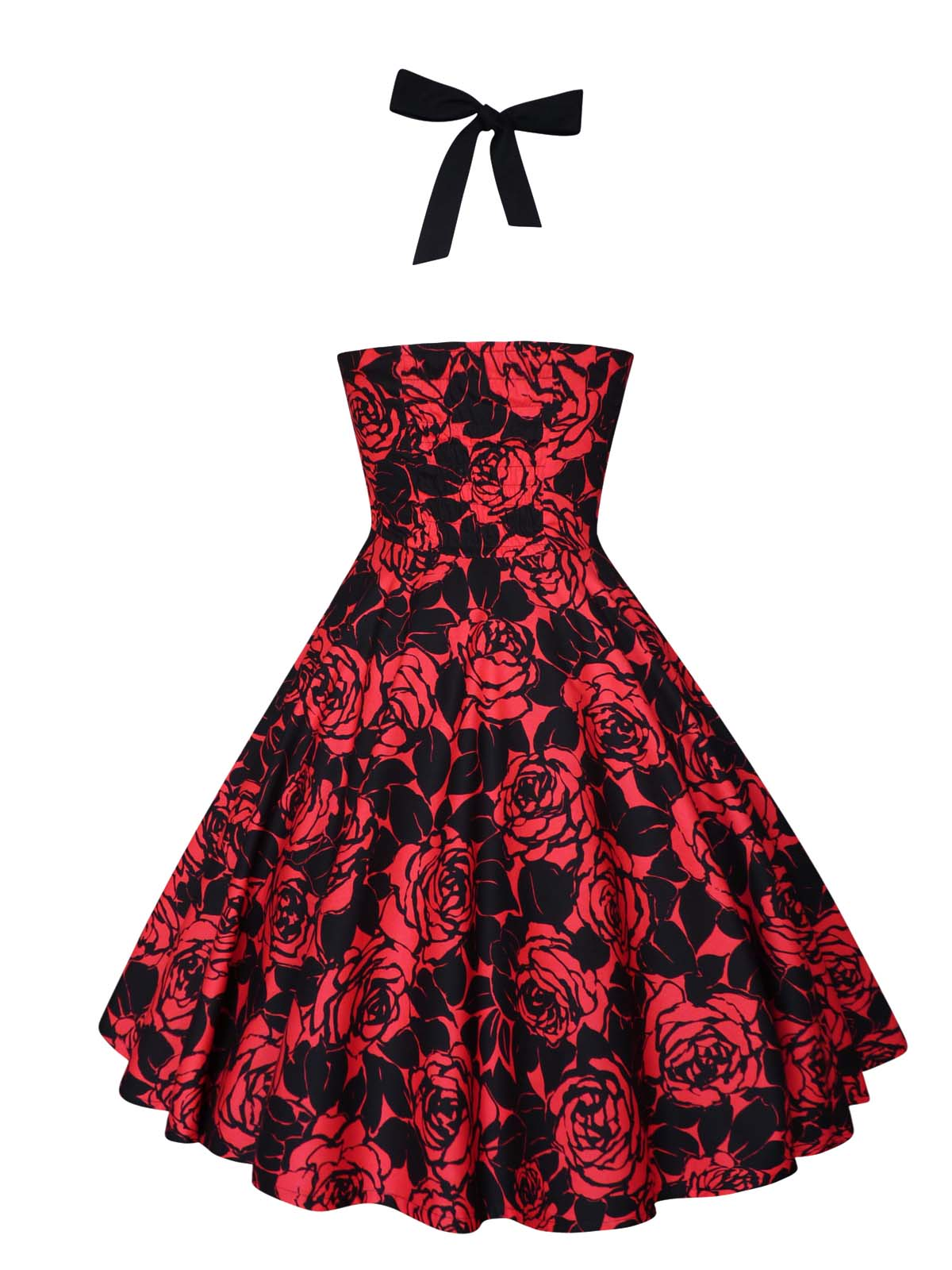 Red Roses Dress Gothic Party Dress Christmas Dress Pin Up Rockabilly