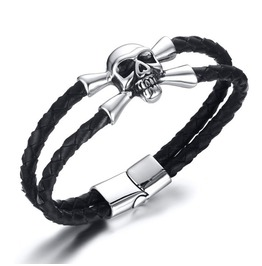5 Mm Stainless Steel Cikou Skull Kito Twice Leather Hand Strap Bracelet