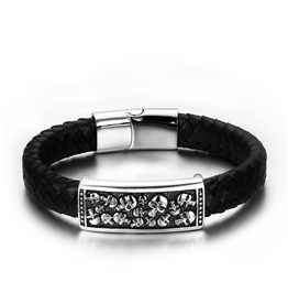Titanium Steel Leather Skull Bracelet Bracelet Sportsman Necessary Bracelet