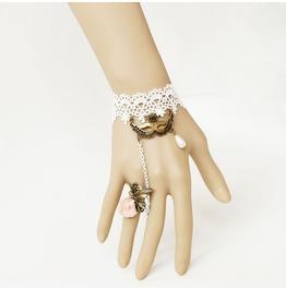 Handmade White Lace Little Mask Pendent Gothic Bracelet Ring Br 03