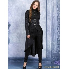 Black Pattern Gothic Dovetail Jacket For Women
