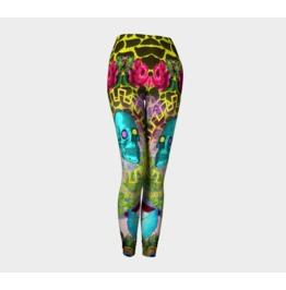 Funky Blue Skulls Pink Vintage Peonies Giraffe Print Leggings