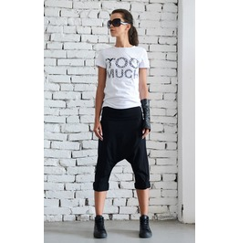 Black Drop Crotch Pants/Extravagant Loose Shorts/Black Harem Pants