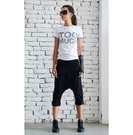 Black Drop Crotch Pants/Extravagant Loose Shorts/Black Harem Pants