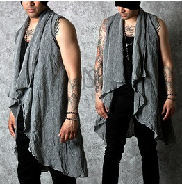 Gray Color Linen Draping Shawl Vest 75