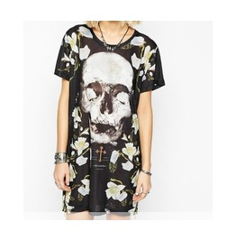 Skull Floral Printed Short Sleeve Mini Dress