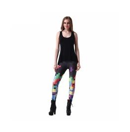 Multi Color Tetris Digitally Printed Leggings