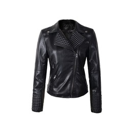 Women's Faux Leather Black Punk Jacket