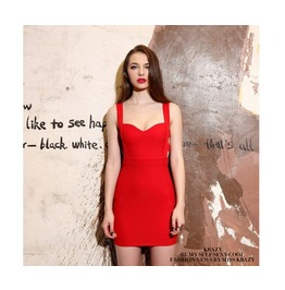 Women's Corseted Black/Red Bodycon Bandage Sleeveless Mini Dress