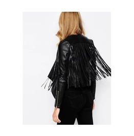 Black Fringe Leather Coat Jacket