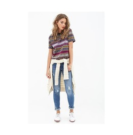 Multicolor Vintage Votem Stried Cropped T Shirt