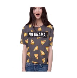 Women Pizza Letters Print T Shirt
