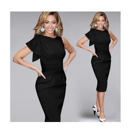 Black/Red/Blue/White Sleeveless Stretch Knee Length Dress Plus Size