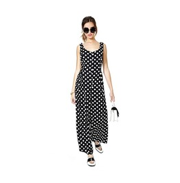 Backless Black And White Polka Dot Tunic Strap Jumpsuit