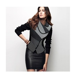 Women's Black Vintage Knitted Houndstooth Striped Patchwork Jacket
