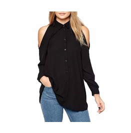 Plus Size Casual Off Shoulder Chiffon Black Blouse