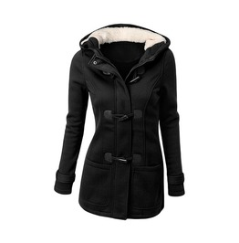 Casual Women Slim Zipper Button Long Sleeve Solid Warm Hooded Coat