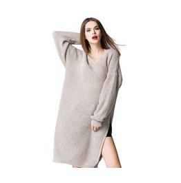 Women Loose Long Sleeve V Neck Knit Split Sweater