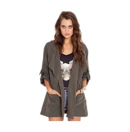 Brief Casual Drawstring Hood Long Sleeve Loose Jacket