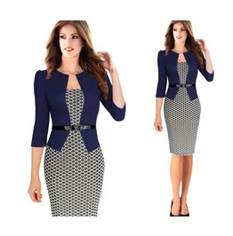 3/4 Sleeve Faux Twinset Belted Pencil Sheath Bodycon Dress