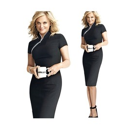 Plus Size Black Short Sleeve Knee Length Dress