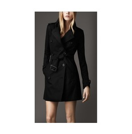 Women's Black/Khaki Double Breasted Trench Long Winter Coat Jacket