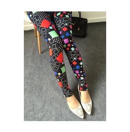 Multi Color Squares Printed Leggings