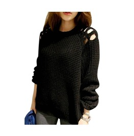 Womens Off Shoulder Black Sweater