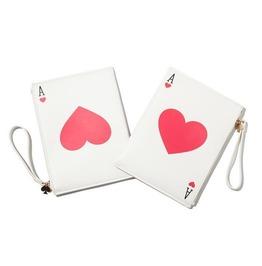 Women's Ace Card Heart Printed Faux Leather Purses Handbags