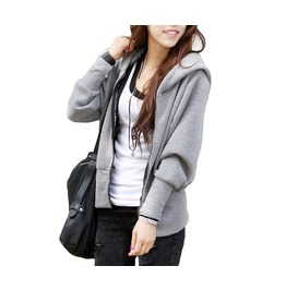 Women's Black/Gray Solid Winter Hoodies