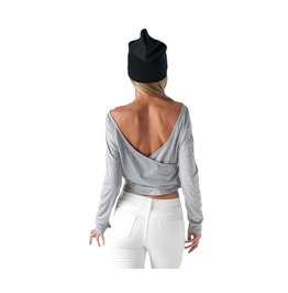 Women's Backless Gray Long Sleeve T Shirt