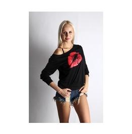 Womens Lips Printed Black Sweatshirt