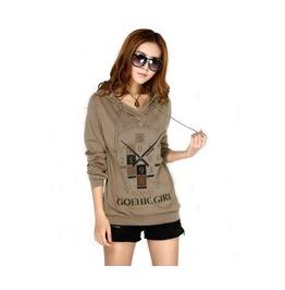 Women's Brown/Green Long Sleeve Hooded Sweatshirts