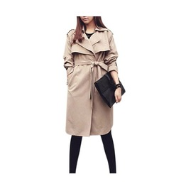 Women's Khaki/Blue Trench Coats Lapel Turn Down Collar Windbreaker Jackets