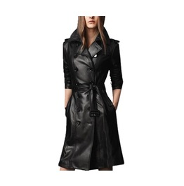 Womens Black Pu Leather Long Black Coat