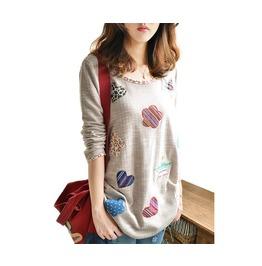 Women's Long Sleeve Flower Heart Patch Sweaters