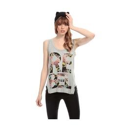 Women's Rebel Printed Gray Sleeveles Top T Shirt Tee Tank Top