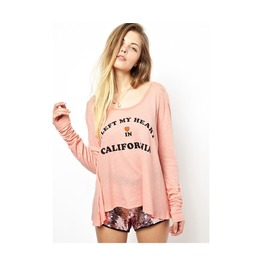 I Left My Heart In California Pink Long Sleeve Top T Shirt Blouse