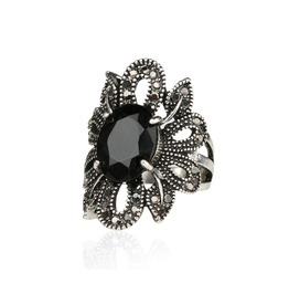 Women's Black Gem Gem Crystals Vintage Ring