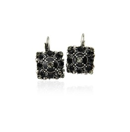 Retro Square Shaped Crystal Rhinestones Statement Clip Earrings